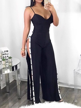 Full Length Sexy Color Block Slim Women's Jumpsuit