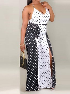 Lace-Up Polka Dots Office Lady Slim Women's Jumpsuit