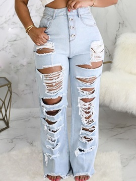 Color Block Straight Hole Button Slim Women's Jeans