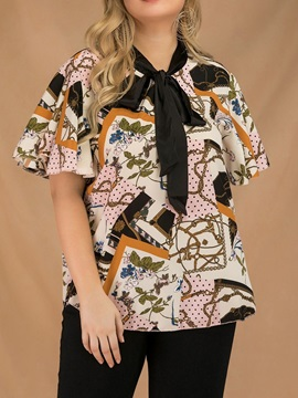 Plus Size Flare Sleeve Floral Print Women's Blouse