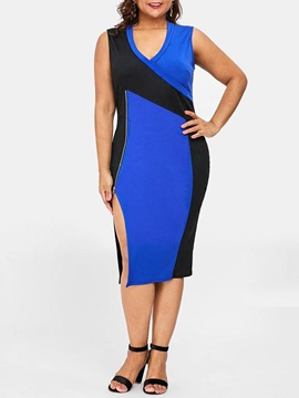 Mid-Calf Patchwork Sleeveless Plus Size Women's Dress