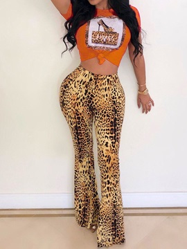Print Pants Pullover Women's Two Piece Sets