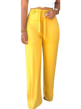 Loose Belt Plain High Waist Women's Casual Pants