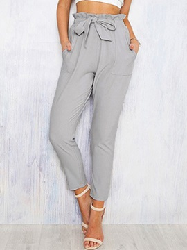 Slim Plain Bowknot Ankle Length Women's Casual Pants
