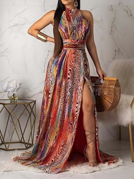 Print Floor-Length Sleeveless Sexy Pullover Women's Dress