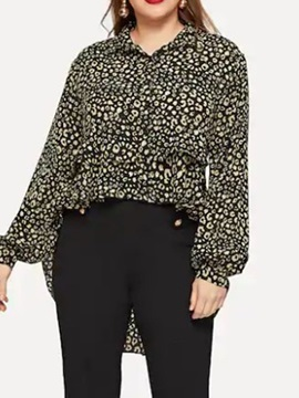 Plus Size Loose Fashion Print Leopard Long Sleeve Women's Blouse