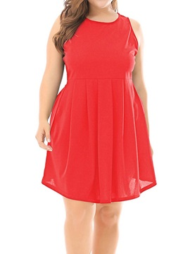 Plus Size Sleeveless Above Knee Backless A-Line Women's Dress