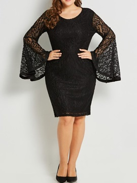 Plus Size Long Lace Flare Sleeve Women's Bodycon Dress