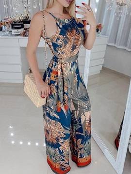 Print Floral Full Length Slim Women's Jumpsuit
