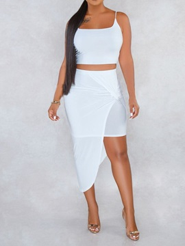 Plain Plus Size Skirt Strap Pullover Asymmetrical Women's Two Piece Sets