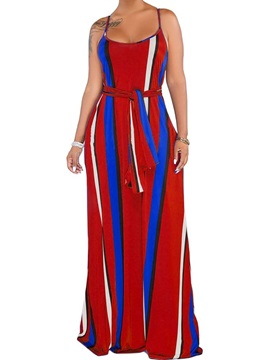 Print Sleeveless Floor-Length Spaghetti Strap Women's Dress