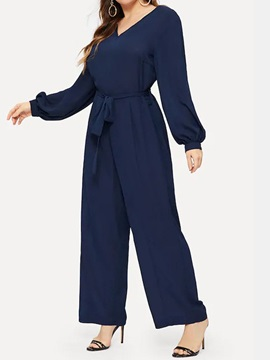 Full Length Plus Size Bowknot Color Block Loose Women's Jumpsuit