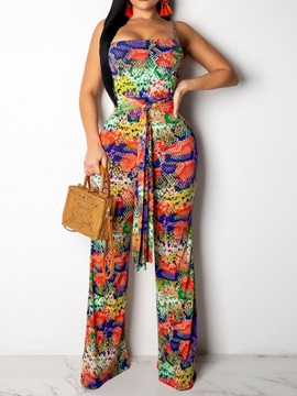 Travel Look Print Full Length Mid Waist Slim Women's Jumpsuit