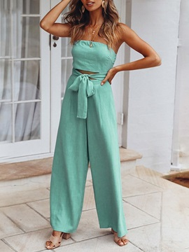 Casual Full Length Lace-Up Mid Waist Loose Women's Jumpsuit