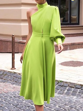 Plus Size Lantern Sleeve Turtleneck One Shoulder Women's Dress