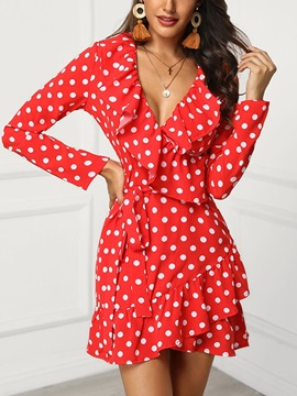 Long Sleeve V-Neck Above Knee Polka Dots Women's Dress