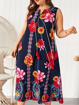 Plus Size Mid-Calf Sleeveless V-Neck Bohemian Women's Dress