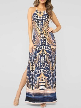 Sleeveless Floor-Length Backless Bodycon Women's Maxi Dress