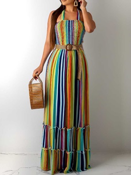 Sleeveless Pleated Floor-Length Mid Waist Women's Maxi Dress
