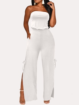 Full Length Plain Bowknot High Waist Straight Women's Jumpsuit