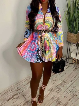 Skirt Print Floral Lapel Pleated Women's Two Piece Sets