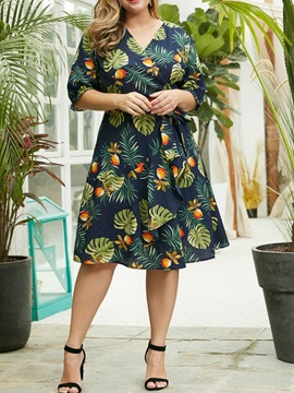 Plus Size Mid-Calf 3/4 Sleeve V-Neck Pullover Women's A-Line Dress