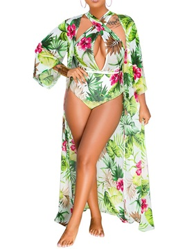 Color Block Floral Two Pieces One Piece Swimwear