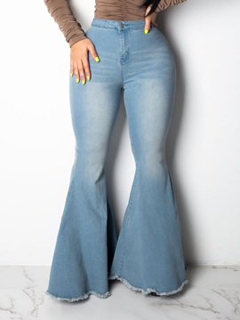 Bellbottoms Plain Tie-Dye Mid Waist Slim Women's Jeans