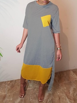 Mid-Calf Half Sleeve Patchwork Color Block Women's Casual Dress