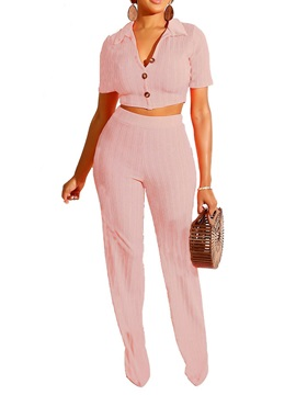Plain Casual T-Shirt Lapel Straight Women's Two Piece Sets