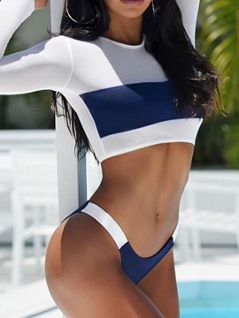 Color Block Patchwork Long Sleeve Tankini Set