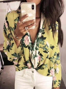 Floral Print Color Block Loose Long Sleeve Women's Blouse