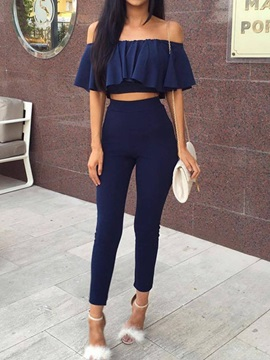 Ankle Length Pants Plain Fashion Pullover Off Shoulder Women's Two Piece Sets