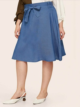 Plus Size Plain Knee-Length A-Line High Waist Date Night Women's Skirt