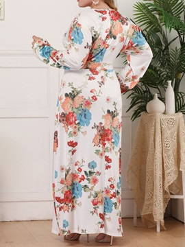 Plus Size Long Sleeve Print Ankle-Length Floral Women's Maxi Dress