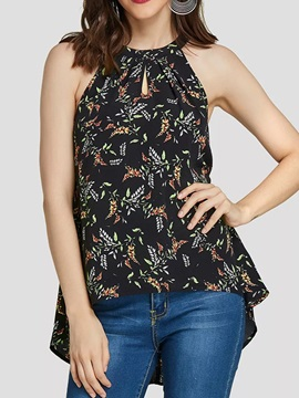 Pleated Halter Summer Floral Print Women's Tank Top