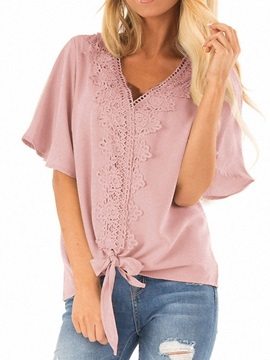 Plain V-Neck Short Sleeve Lace Loose Women's Blouse