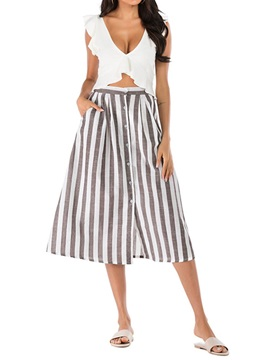 Stripe Skirt Casual A-Line V-Neck Women's Two Piece Sets