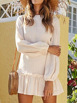 Round Neck Long Sleeve Above Knee Women's Casual Dress