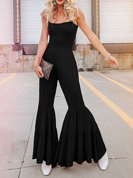 Plain Full Length Pleated High Waist Slim Women's Jumpsuit