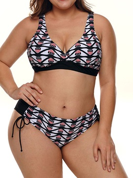 Plus Size Color Block Summer Bikini Set