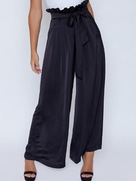 Loose Lace-Up Plain Wide Legs Full Length Women's Casual Pants