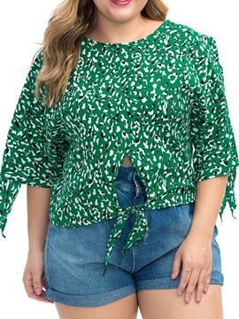 Plus Size Round Neck Floral Three-Quarter Sleeve Women's Blouse