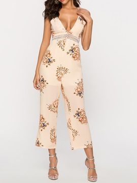 Travel Look Floral Print High Waist Loose Women's Jumpsuit