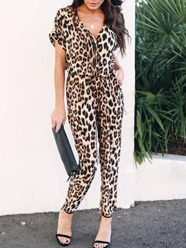 Ankle Length Leopard Fashion Harem Pants Loose Women's Jumpsuit