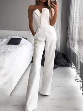 Full Length Mirco-Elastic Slim Mid Waist Women's Jumpsuit