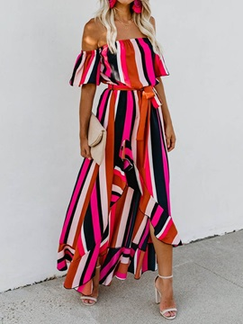 Off Shoulder Asymmetric Ankle-Length Women's Maxi Dress