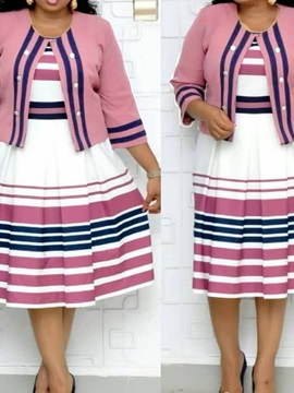 Plus Size Mid-Calf Print Pullover Stripe Women's Skater Dress