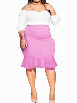Plus Size Skirt Casual Plain Off Shoulder Pullover Women's Two Piece Sets