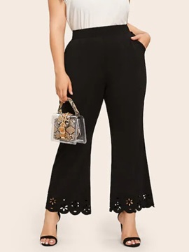 Plus Size Hollow Loose Plain Ankle Length Bellbottoms Women's Casual Pants
